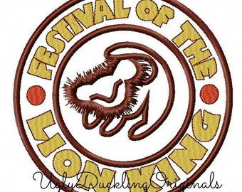 Festival of the Lion King Logo Machine Embroidery Applique Design Digital Download 4x4 5x5 6x6 7x7 8x8