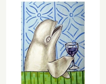 ON SALE Beluga Whale at the Wine Bar Art Print