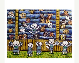 ON SALE Bichon Frise Cheerleading Dog Art Print