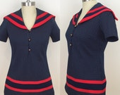 70s Navy Red Polka Dot Sailor Top, Size Small to Medium