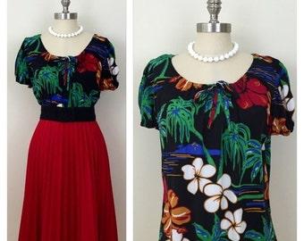 20% OFF SALE 90s Makai Beach Black Hawaiian Print Blouse, Size Large to XL