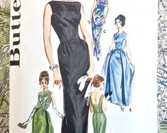 Vintage 1960s Evening Dress Pattern with Low Back  - Butterick 2488