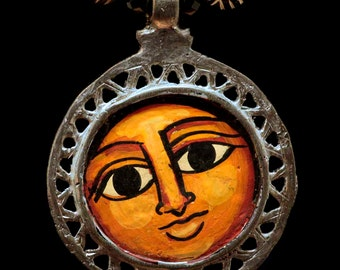 Sweet Hand Painted Face Pendant - Ethiopia