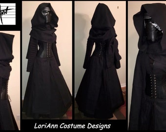 Female KYLO REN Inspired Black Linen Hooded Scarf, Long Tunic, and Faux Leather Under Bust Corset Full Costume by LoriAnn Costume Designs