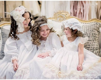 Vintage lace long sleeved white nightgown or day dress. Luxury lingerie for little girls,  photo shoots,  luxury gift