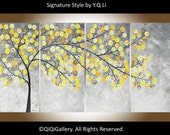 """Modern Wall Art Acrylic painting original yellow grey Abstract landscape wall décor canvas art home Office décor """"Spring 2016"""" by QiQi"""
