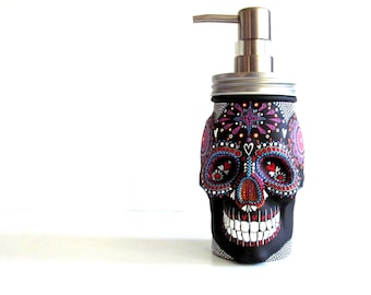 Painted Skull: Hand painted glass Skull shaped Soap Dispenser