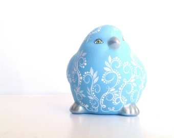 Blue Bird: Hand painted far blue birdie figurine cute Blue Bird