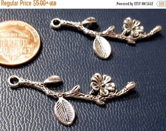 50 % Off Sale Flower and Branch Charm Antique Silver 40x12mm, Multi packs, C 181