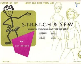 1960's Vintage Sewing Pattern Stretch & Sew 1300 Ladies' One Piece Swim Suit Sizes 20-22
