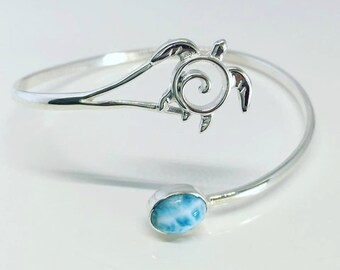 Sea Turtle Bracelet - Larimar Turtle Bracelet - Turtle Cuff - Unique Turtle Jewelry - Sterling Silver Blue Larimar Cuff - Ocean Inspired