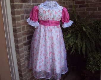 Flower girl dress, Southern Belle dress, Victorian dress, Early American  party dress girls siz 6/7 White with pink sleeves,  sash,  hairbow
