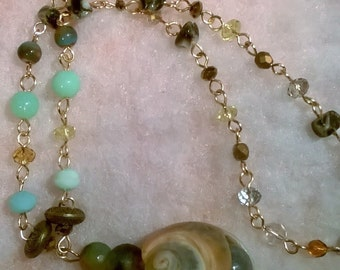 Blue and Peach Shell Gold Maxi  Necklace