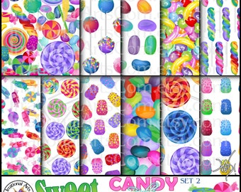 Sweet Candy Bonanza Brights set 2 -  11 digital papers - peppermint candy, lollipops, cake pops, jelly beans, gum drops{Instant Download}