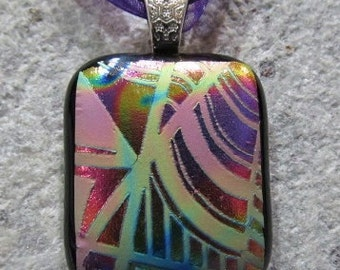 Fused Glass Pendant with Ribbon necklace: Absolutely Amazing Abstract