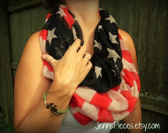 American flag infinity scarf patriotic military stars stripes army USA Marines Navy Air Force Coast National Guard United States of America