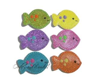 Glitter Vinyl Fish Felt Appliques, Fish Appliques, Beach Felties, Appliques For Hair Clips, Colorful Fish Felt Appliques, Felties For Clips
