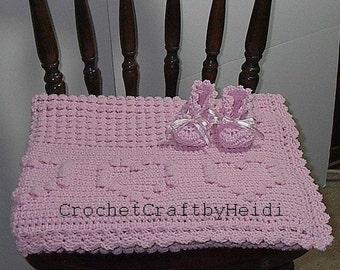 Pink Crocheted Baby Afghan Blanket