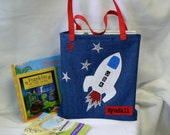 Kids Book Bag|Personalized Tote Outer Space|Boy Astronaut tote bag|Library book bag|Boy Gift Bag|Christmas Gift|Toddler Bag|Preschool Bag