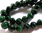 Emerald Stone 6mm Pressed Glass Czech Lumpy Round Beads (25)