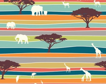FREE USA SHIPPING Serengeti The Plains Stripe Organic Birch Fabric, 1/2 yard cut, 1 1/2 yards available