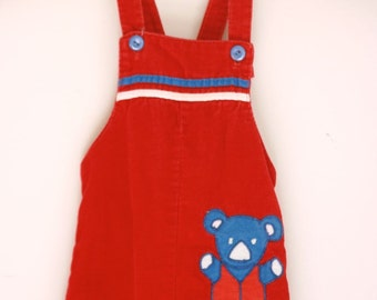 vintage red corduroy overalls 12 to 18 months teddy br