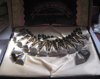 Vintage EVER NU West German Eloxal Aluminum Demi Parure of Choker and Clip On Earrings