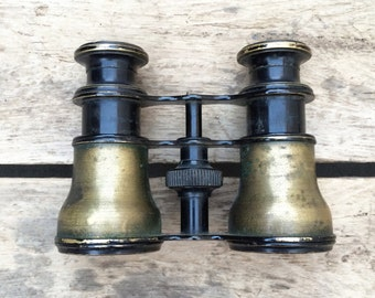 antique c. early 1900s brass opera glasses / binoculars