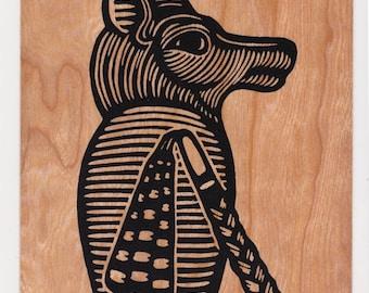 Egyptian Jackal screenprint wood veneer card