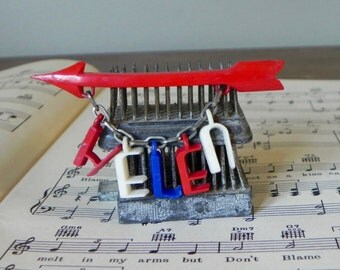 Vintage 1940s name brooch pin red white and blue HELEN whimsical special arrow jewelry name jewelry