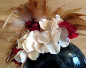 Steam Punk Mini Top Hat with Flowers, Feathers and Clock Accents