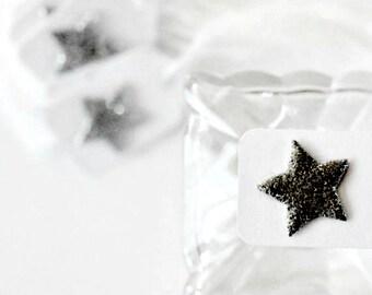 Black Glitter Star Tags {12}   Mini Glitter Stars   Mini Star Tags   Embellishments   Christmas Star Tags   Holiday Tags
