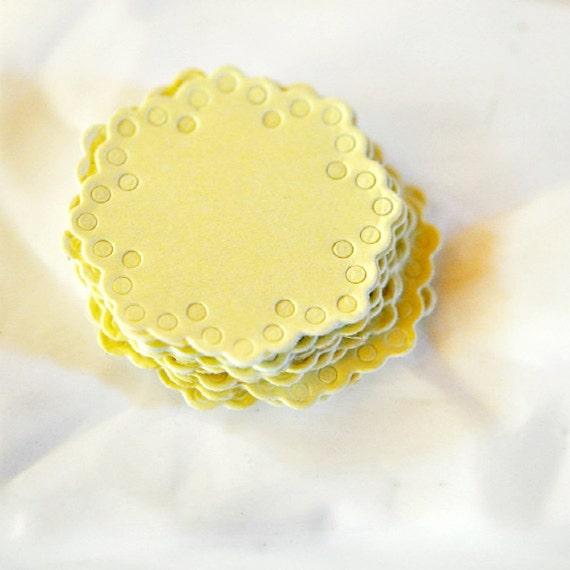 Paper Doily Stickers Seals {10} Envelope Gift Embellishment Lemon Gender Neutral New Baby Wedding Engagement Invitations
