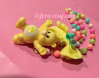 Care Bears Funshine Bear Rainbow Bow Beaded Necklace