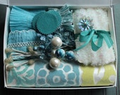 Winter Frost the January Petite Art Kit - Aqua Blue Vintage Millinery Trims - Gift Box Handmade Ruffle Collection