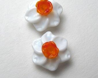 Handmade Daffodil Bead, Lampwork Glass Flower, sra jewelry supplies