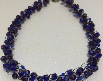 Hand Made Crochet Necklace with Crystals.