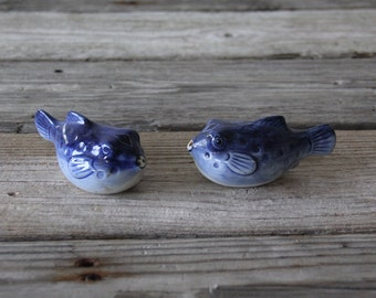 Japanese Puffer Fish Salt & Pepper Shakers Blue Pottery