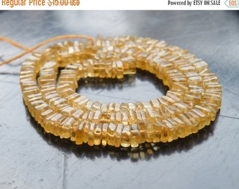 Clearance SALE Citrine Gemstone Heishi Yellow Solar Power Faceted 5mm 100 beads 1/2 strand