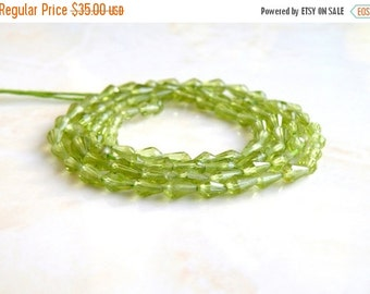Mega SALE Peridot Gemstone Briolette Faceted 3-D Tear Drop Green Center Drilled 4.5 to 5.5mm 75 beads Full Strand