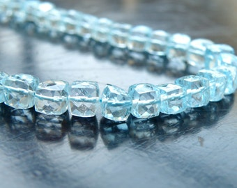 Sky Blue Topaz Gemstone Faceted Cube 5.5mm 16 beads Wholesale