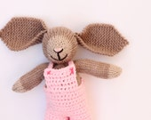 Handmade knitted bunny rabbit soft toy with pink crochet overalls, new baby gift, baby girl, baby knitting, hand knitted toys, knit toy