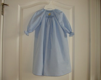Custom Hand Smocked Baby Daygown Light blue with duck