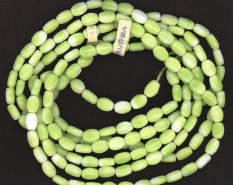 Vintage Green & White Beads 8mm Oblong Glass Made in Austria 30 Pcs.