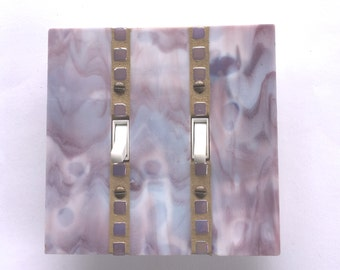 Lavender Light Switch Cover, Double Toggle Switchplate, Purple Light Switch Plate, Dimmer, Stained Glass Mosaic, Lavendar Glass, 8422