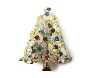 Christmas Tree Brooch - Rhinestone, Rivoli, Costume Jewelry