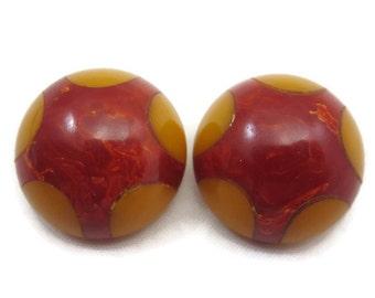 Vintage Bakelite Earrings - Red Bakelite Yellow Polka Dots, Clip Earrings