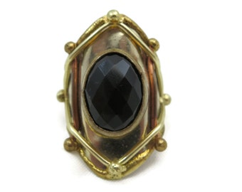 Brutalist Jewelry - Brutalist Statement Ring, Onyx Ring, Designer Jewelry, Mixed Metals, Cabochon, Unisex