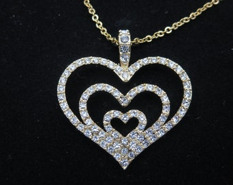 Rhinestone Heart Necklace Pendant - Nolan Miller Jewelry, Clear Rhinestone, Designer Costume Jewelry