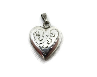 Sterling Heart Locket - Etched Silver Heart